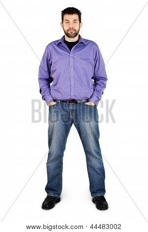 Casual Man Full Body Over White