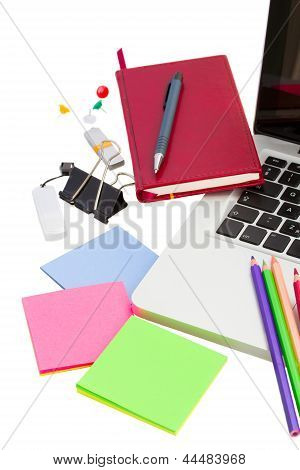 working place with stationery