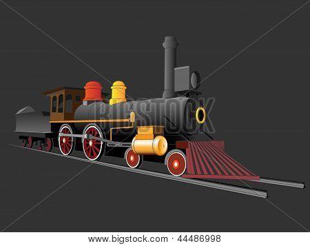 Vector Illustration Of Old Steam Train