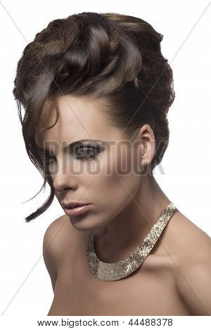 Pretty Woman With Elegant Hair-style