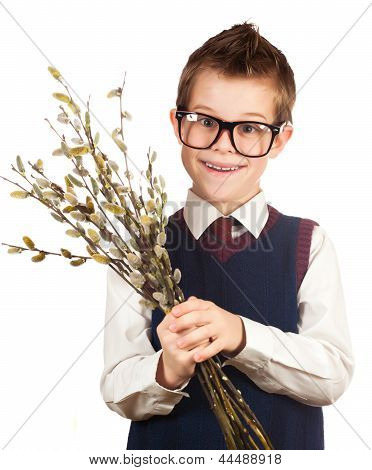 nice boy in a hurry for a date with a bunch of willow