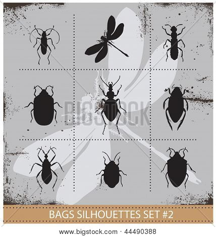 Insect silhouettes sign set black color