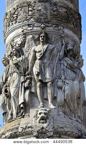 Close-up Details On The Congress Column In Brussels