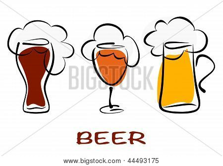 Beer Collection. Three Mugs Of Beer Pint On White