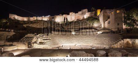 Malaga Landmarks On Night. Roman Theater And Alcazaba. Andalusia, Spain