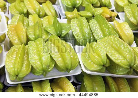 Starfruits In Packages Closeup