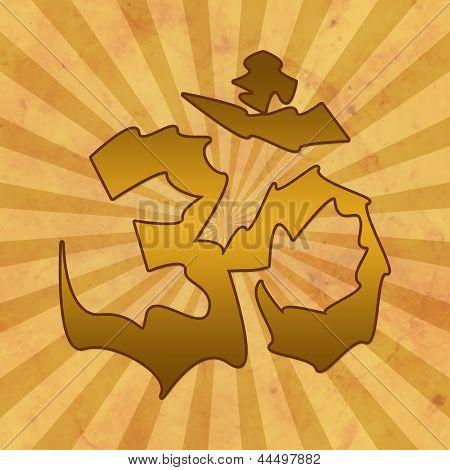 Aum in Brown Grunge Background