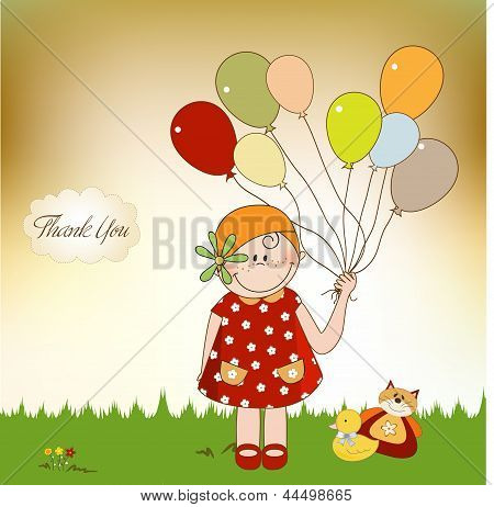 Thank You Card With Girl