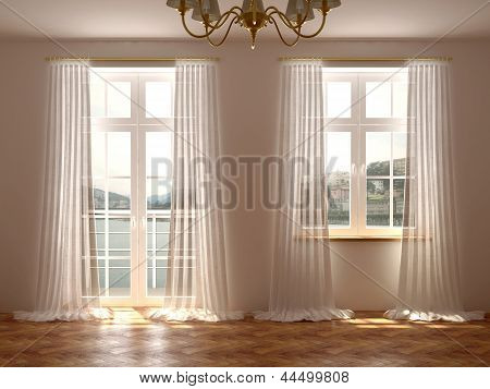 Room With Windows And Balcony Door