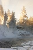 picture of nea  - Hut nea water and misty forest in winter in Lapland Finland - JPG