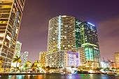 image of atlantic ocean  - City of Miami Florida colorful night panorama of downtown business and residential buildings - JPG