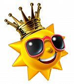 pic of hot-weather  - Best sunny vacation traveling concept with a smiling summer sun character wearing a gold crown with sunglasses as a happy glowing hot seasonal fun icon of relaxation with hot weather isolated on white - JPG