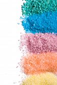 the different colours of bath salt