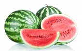 stock photo of watermelon slices  - Two Whole watermelon half and Slice isolated on a white background - JPG
