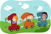 picture of car ride  - Illustration of Stickman Kids riding in Number - JPG