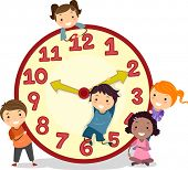 stock photo of stickman  - Illustration of Stickman Kids on a Big Clock - JPG
