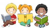 pic of multicultural  - Illustration of Happy Children Sitting while Reading Books - JPG