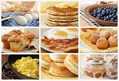 Breakfast food collage includes pancakes, eggs and bacon, biscuits, scrambled eggs, cinnamon muffins