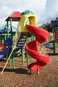 picture of swingset  - a picture of a brand new  playground - JPG