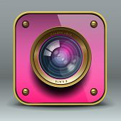 Roze foto camera-pictogram