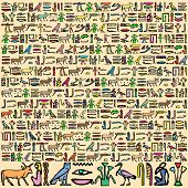 picture of hieroglyphs  - An Illustration of Ancient Egyptian Hieroglyphics in Square Format - JPG