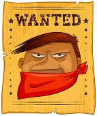 pic of bandit  - wild west poster with a picture of a wanted bandit - JPG