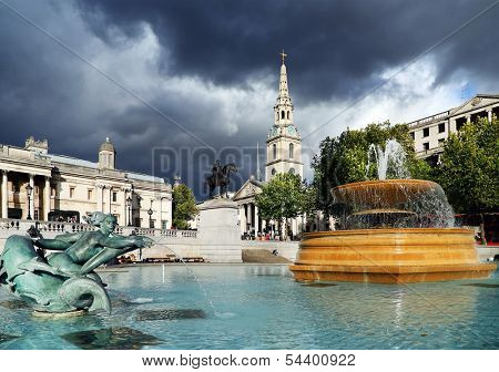 Trafalgar Square in London, England, Europe - Stormy background