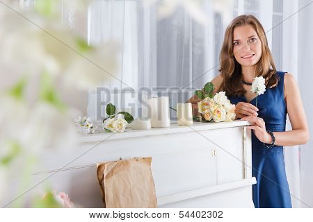Beautiful Woman Standing Near The Piano