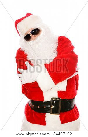 Cool Santa Claus in hip-hop pose with dark sunglasses on.  Isolated on white.