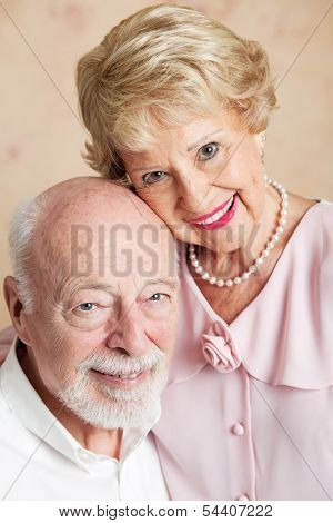 Closeup portrait of a beautiful senior couple in love.