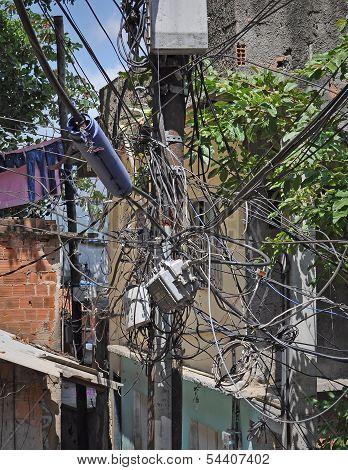 Electric Wires In Favela. Rio De Janeiro