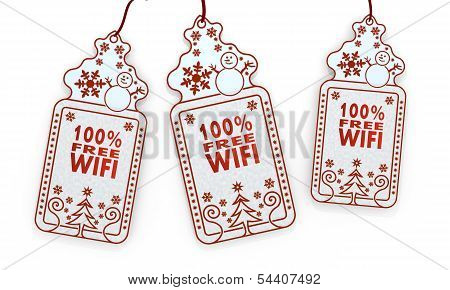 Isolated Christmas Labels With 100 Percent Free Wifi Sign