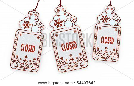 Isolated Christmas Labels With Closed Sign