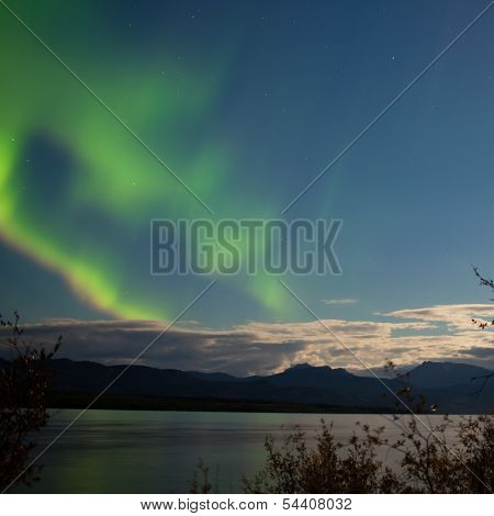 Aurora Borealis Moon-lit Clouds Over Lake Laberge