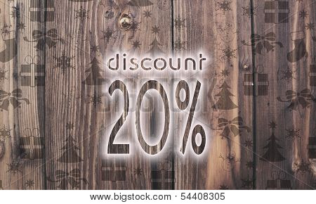 Wooden Discount Symbol With Presents