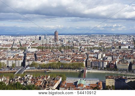 Aerial view of Lyon from Fourviere Hill