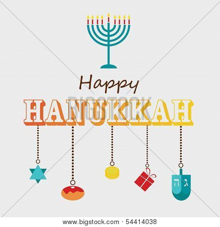 Happy Hanukkah greeting card design.