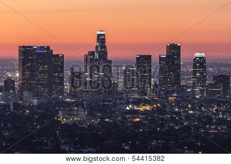 LOS ANGELES, CALIFORNIA - NOV 11:  Dawn view of downtown Los Angeles.  Building boom increases downtown residential units 15% in two years to 30,600 on November 11, 2013 in Los Angeles, California.