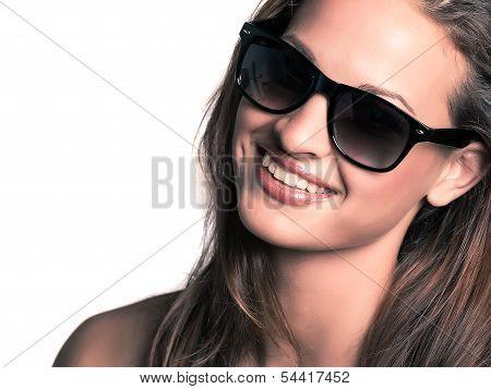 Young Beautiful Woman Wearing Sunglasses
