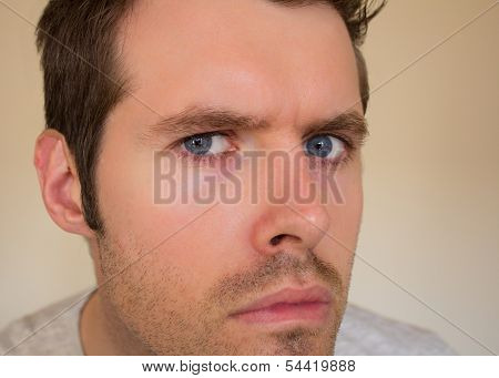 Male man looking straight into the camera