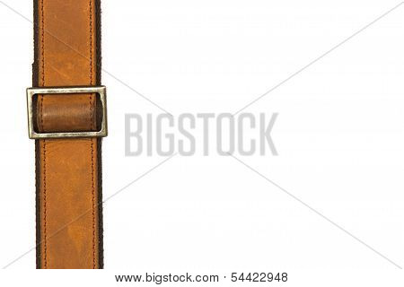 Leather Belt And Fastener On White Background