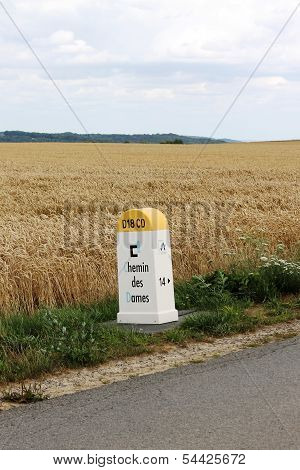 Chemin des Dames First World War battlefield roadside marker in France