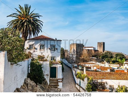 Fortified wall in Obidos, Portugal