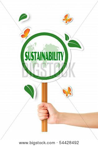 Hand Holding Green Eco Sign