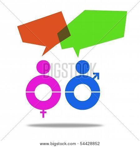 Male female talking