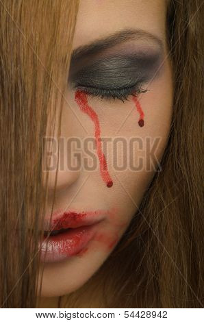Blood From The Eyes And Face Of Woman