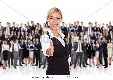 businesswoman hanshake