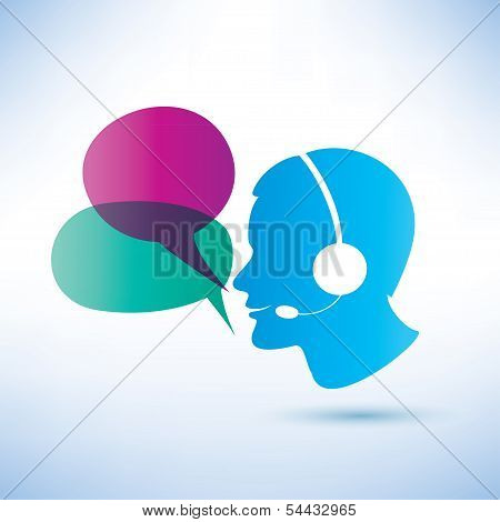Smiling Man With Headphones And Speech Bubbles