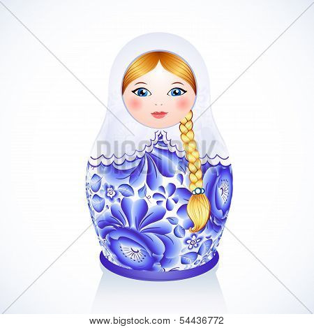 Russian traditional vector doll in Gzhel style