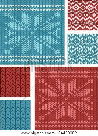 Nordic Knitting Vector Seamless Patterns. Use as fills, digital paper, or print off onto fabric to produce fab items for Christmas.